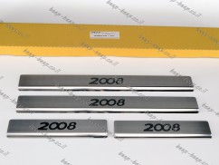 N.Niko Door sill lining for PEUGEOT 2008 II 2020—2021 Chrome Scuff Plate Cover