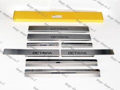 N.Niko Door sill lining for SKODA OCTAVIA IV 2020—2021 Chrome Scuff Plate Cover