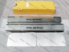 Door sill lining for MITSUBISHI PAJERO WAGON IV 2007—2019 Chrome Scuff Plate Cover