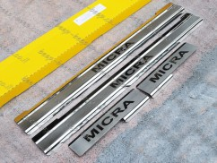 Door sill lining for NISSAN MICRA IV 2011—2016 Chrome Scuff Plate Cover