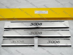 Door sill lining for PEUGEOT 3008 II 2017—2021 Chrome Scuff Plate Cover
