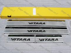 Door sill lining for SUZUKI VITARA IV 2016—2020 Chrome Scuff Plate Cover