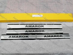 Door sill lining for VOLKSWAGEN AMAROK I 2011—2020 Chrome Scuff Plate Cover