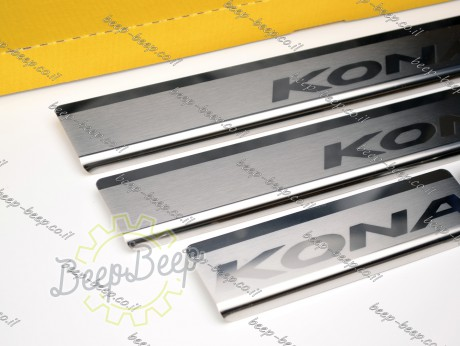 N.Niko Door sill lining for HYUNDAI KONA 2017—2021 Chrome Scuff Plate Cover - Picture 4