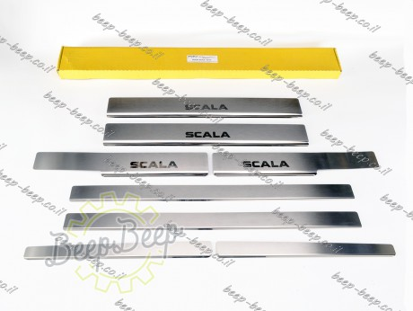 N.Niko Door sill lining for SKODA SCALA I 2019—2021 Chrome Scuff Plate Cover - Picture 1