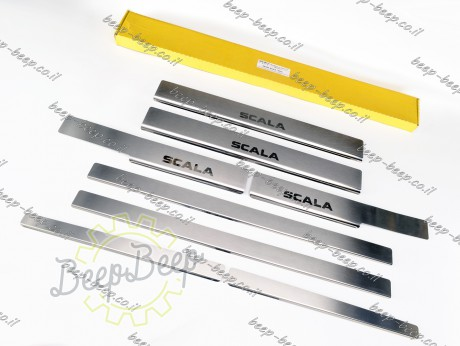 N.Niko Door sill lining for SKODA SCALA I 2019—2021 Chrome Scuff Plate Cover - Picture 2