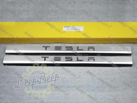 N.Niko Door sill lining for TESLA MODEL X 2016—2020 Chrome Scuff Plate Cover - Picture 1