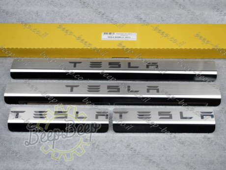 N.Niko Door sill lining / Chrome cover / Scuff plate for TESLA MODEL S 2012—2018 - Picture 1