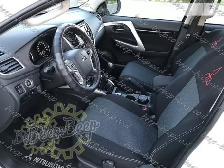 EMC-El Set front + rear of fully tailored seat covers for MITSUBISHI PAJERO SPORT III 2016—2020 - Picture 12